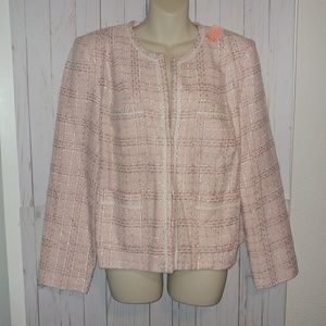 [Jaclyn Smith]tweed pink white 4 pocket blazer